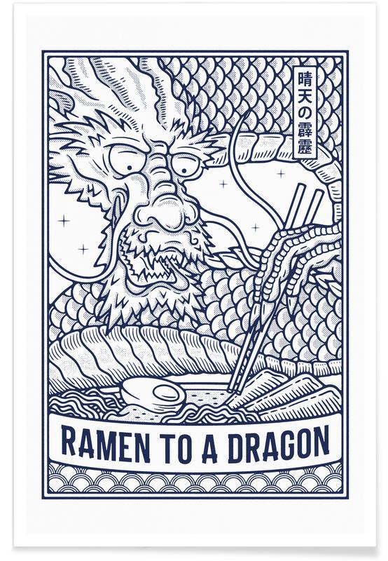Japanisch inspiriert, Ramen to a Dragon -Poster