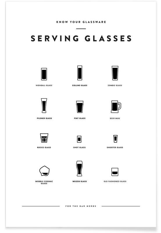 Noir & blanc, Humour, Serving Glass Chart affiche
