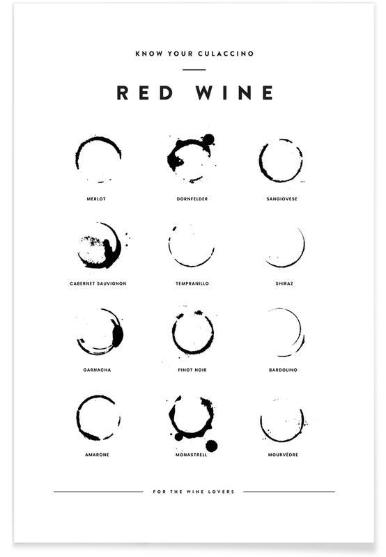 Noir & blanc, Humour, Wine Chart affiche