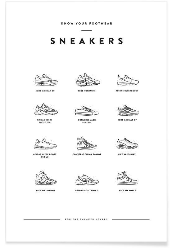 Noir & blanc, Sneaker Chart affiche