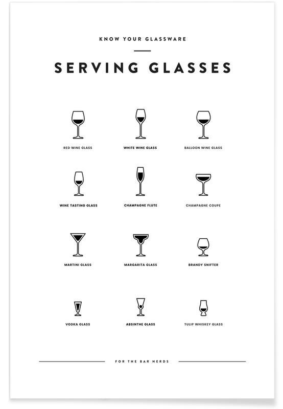 Zwart en wit, Serving Glass Chart II poster