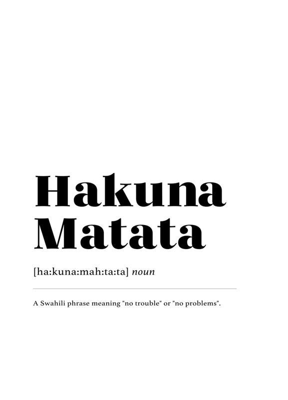 Hakuna Matata -Leinwandbild