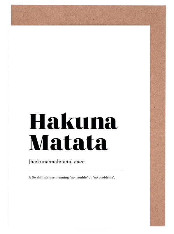 Schwarz & Weiß, Hakuna Matata -Grußkarten-Set