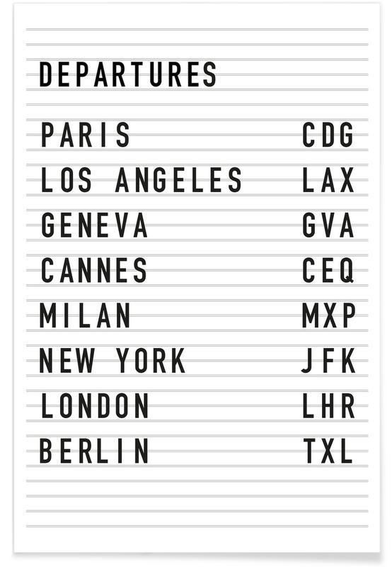 Sort & hvidt, Rejser, Departure Paris Plakat