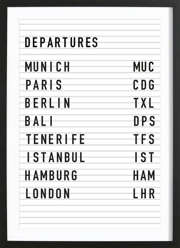 Departure Munich affiche sous cadre en bois