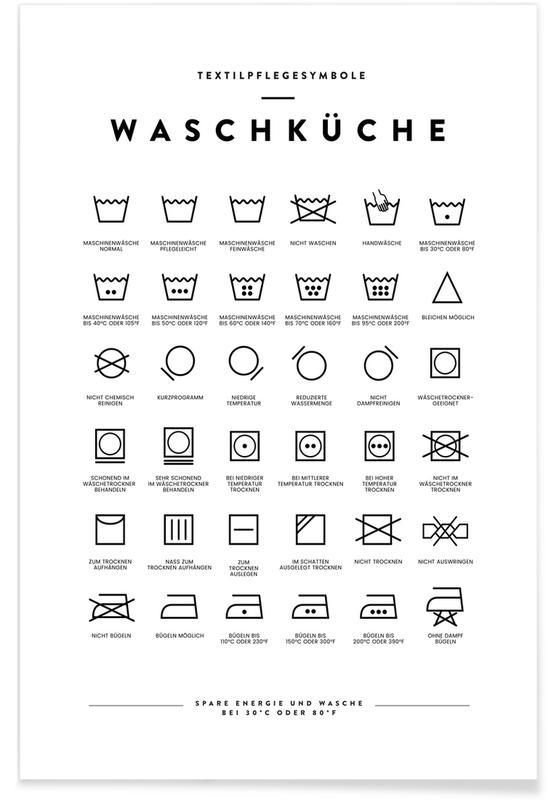Sort & hvidt, Wäsche Plakat
