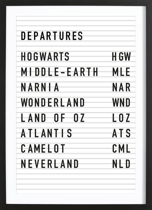 Fantasy Destinations affiche sous cadre en bois