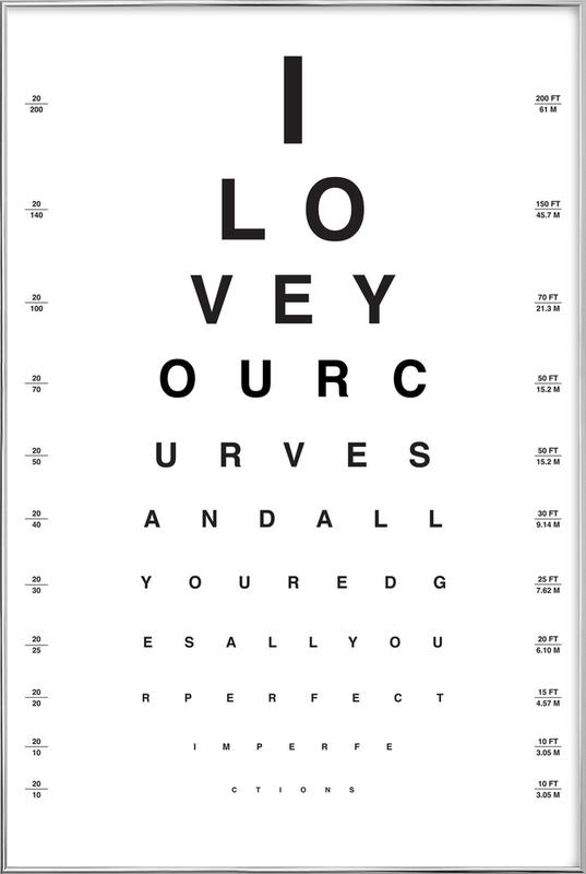 Eye Chart I Love You poster in aluminium lijst