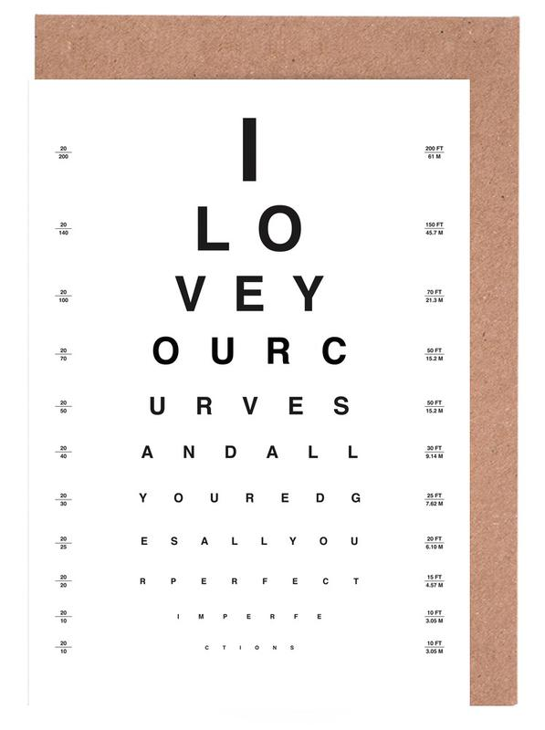 Eye Chart I Love You Greeting Card Set