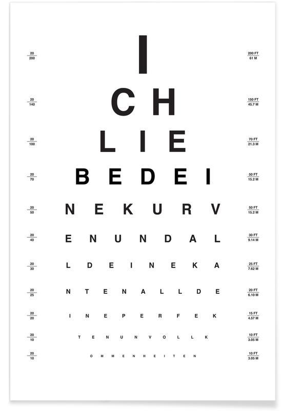 Sort & hvidt, Eye Chart Ich Liebe Dich Plakat