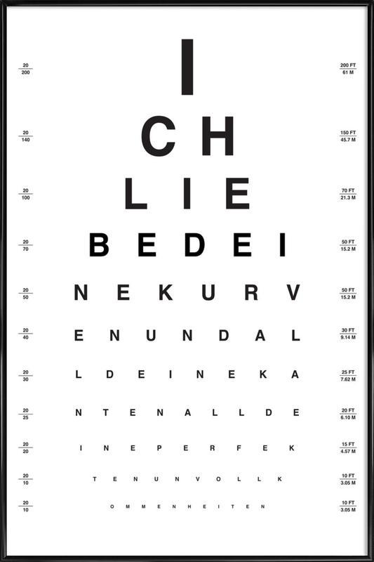 Eye Chart Ich Liebe Dich ingelijste poster