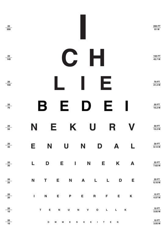 Eye Chart Ich Liebe Dich tableau en verre