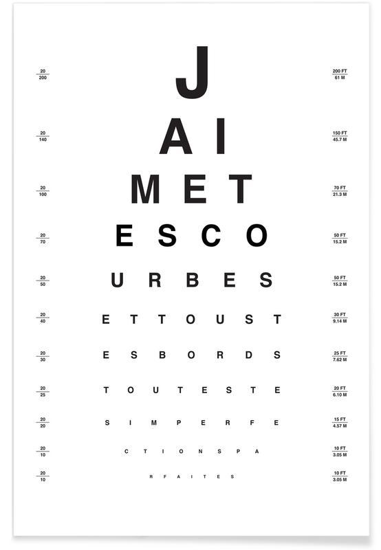 Bianco & nero, Eye Chart Je t'aime poster