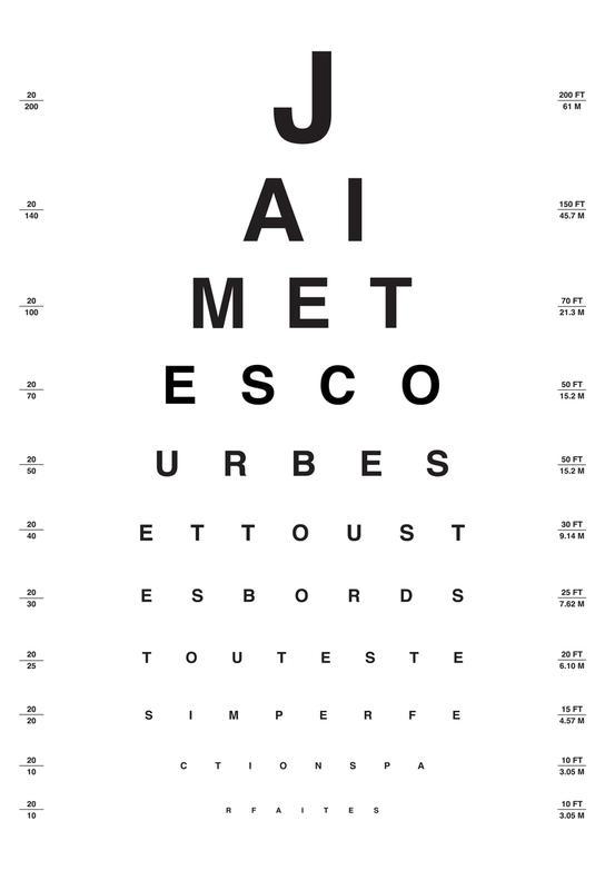 Eye Chart Je t'aime Impression sur alu-Dibond