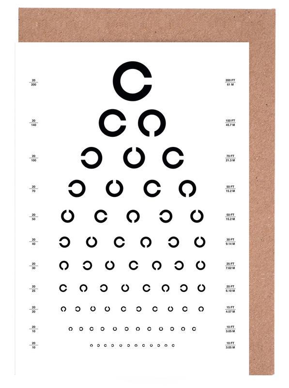 Eye Chart Japanese Design Greeting Card Set