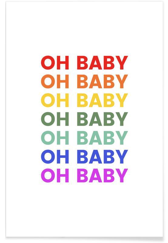 Felicitaciones, Arte para niños, Oh Baby Rainbow póster