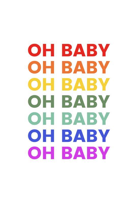 Oh Baby Rainbow Aluminium Print