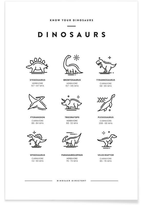 Art pour enfants, Dinosaures, Noir & blanc, Types de dinosaures affiche