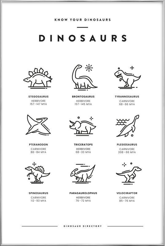 Dinosaurs chart Poster i aluminiumram