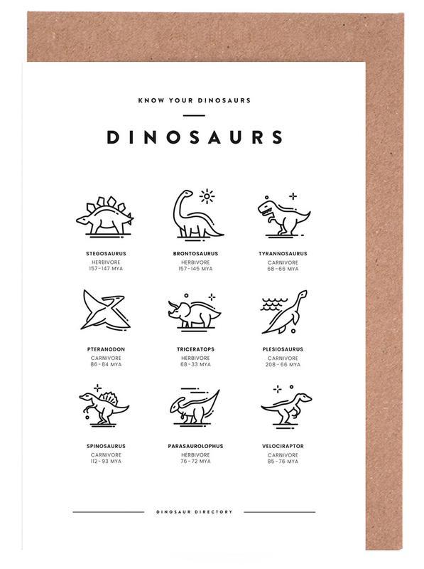 Dinosaurs chart -Grußkarten-Set