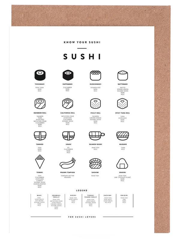 Sushi chart -Grußkarten-Set