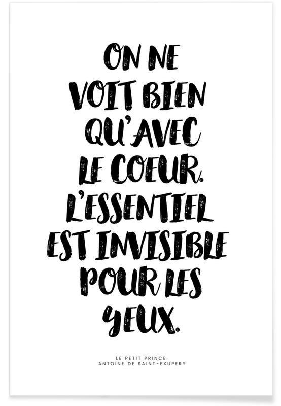 Zitate & Slogans, Voir avec le cœur -Poster