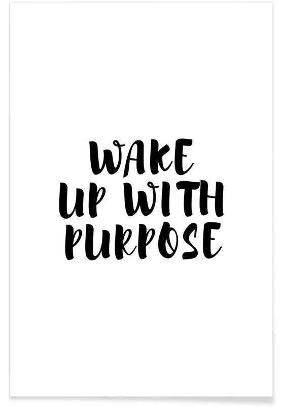 Sort & hvidt, Motiverende, Wake Up Plakat
