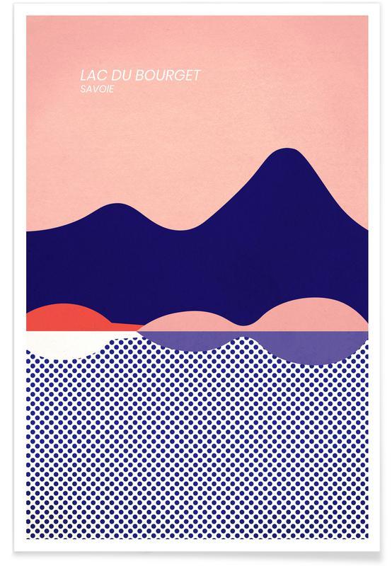 Ozeane, Meere & Seen, Abstrakte Landschaften, Reise, Lac du Bourget -Poster