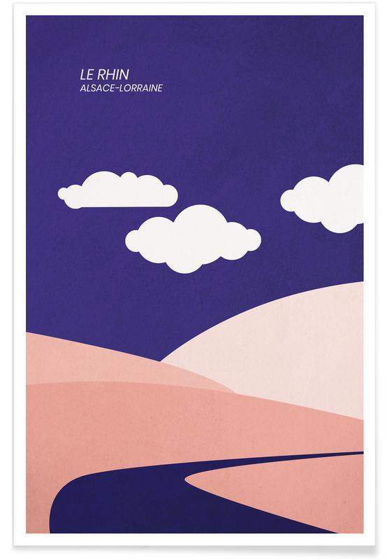 Montagnes, Paysages abstraits, Voyages, Le Rhin affiche
