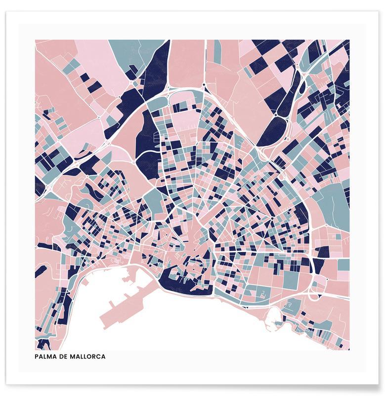Cartes de villes, Palma de Mallorca III affiche