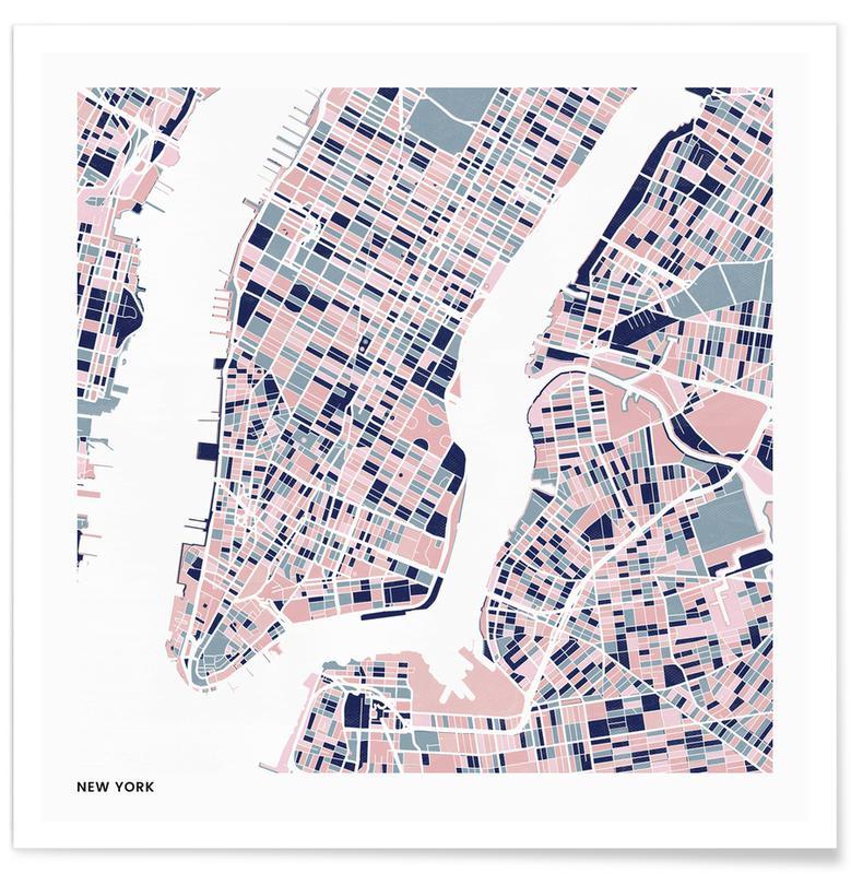 Cartes de villes, New York III affiche