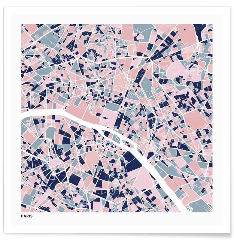 Cartes de villes, Paris III affiche