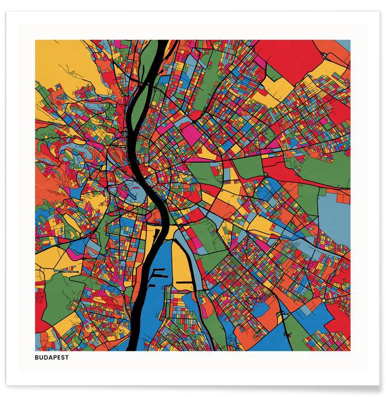Cartes de villes, Budapest affiche