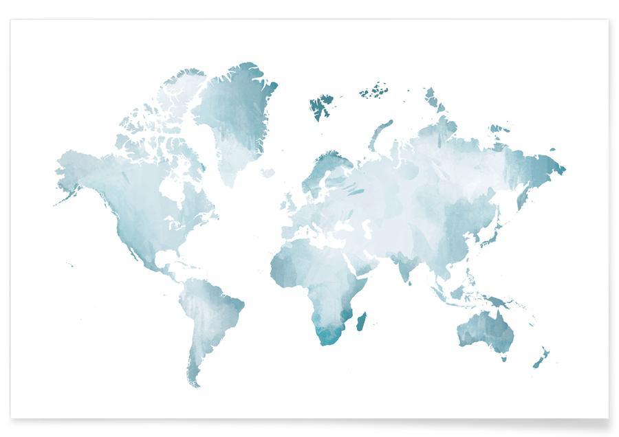 Cartes du monde, World Map Watercolour affiche