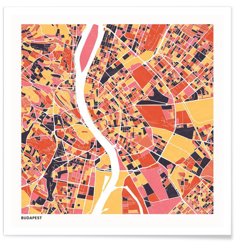 Cartes de villes, Budapest II affiche