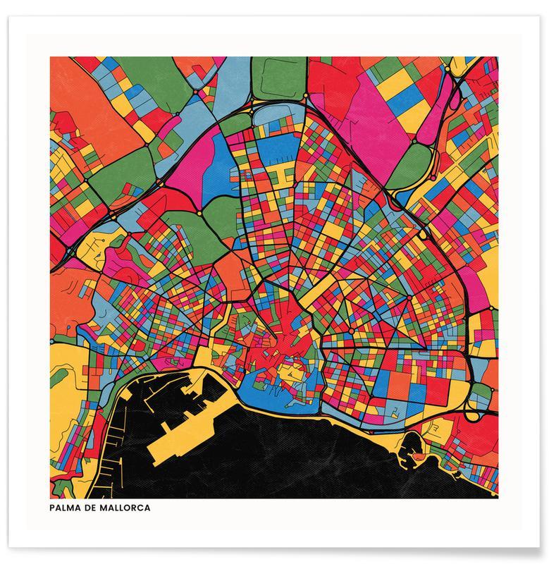 Cartes de villes, Palma de Mallorca affiche