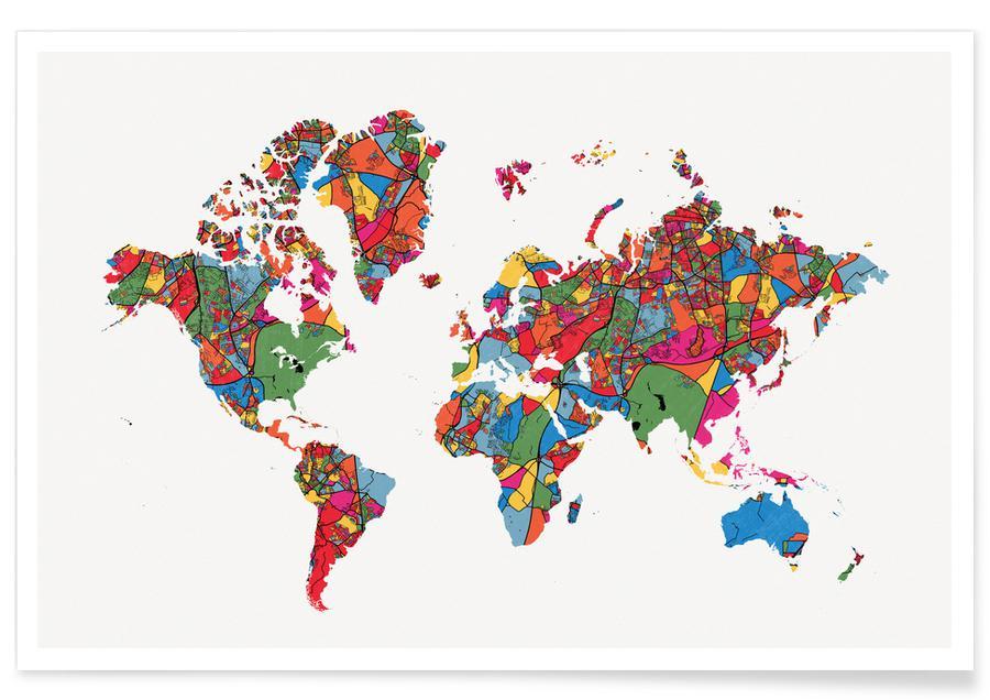 Cartes du monde, World Map II affiche