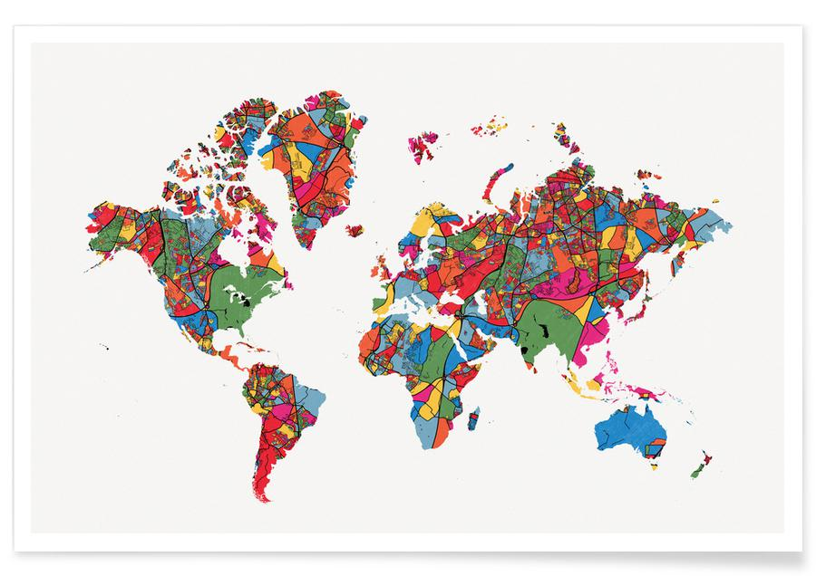 Wereldkaarten, World Map II poster