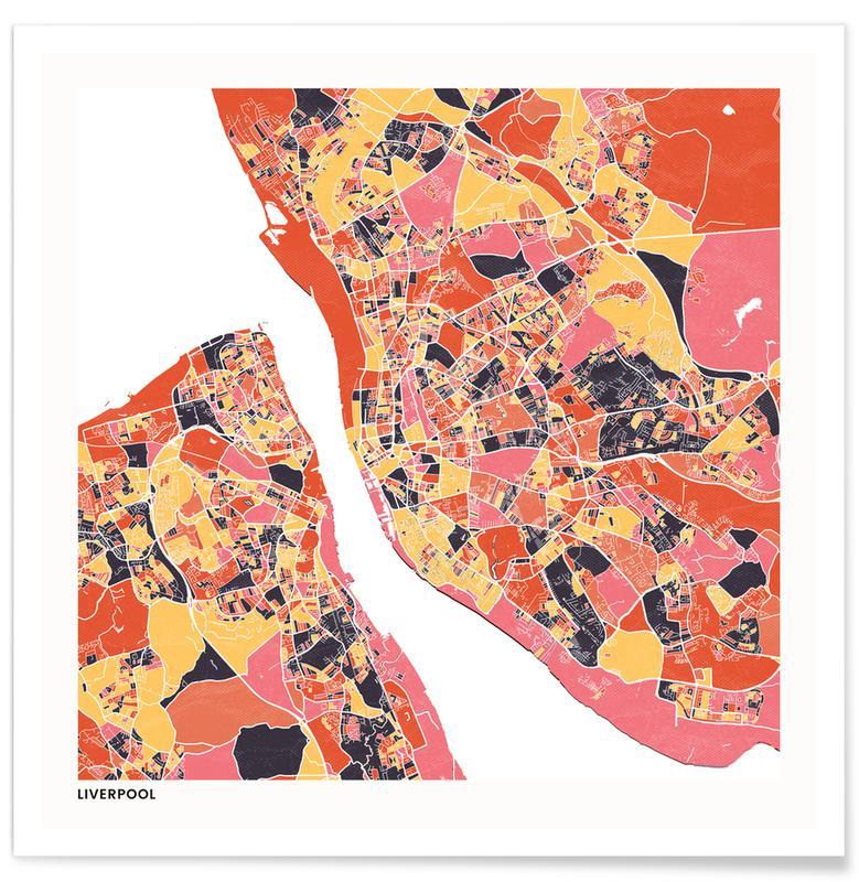 Cartes de villes, Liverpool II affiche