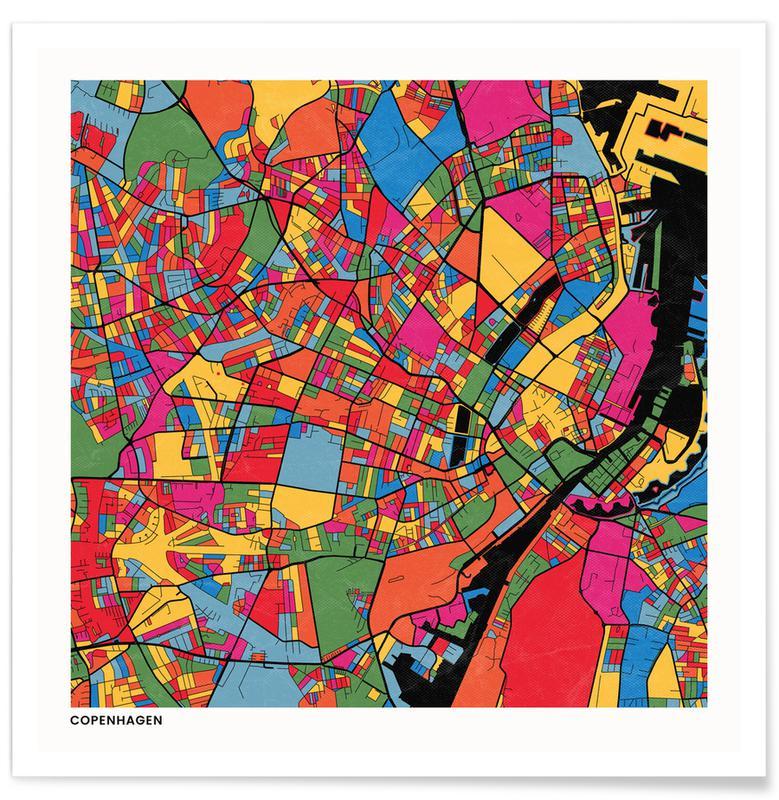 Cartes de villes, Copenhagen affiche