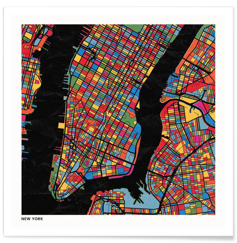 Cartes de villes, New York affiche