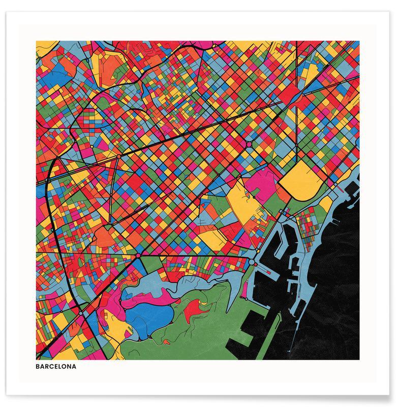 Cartes de villes, Barcelona affiche
