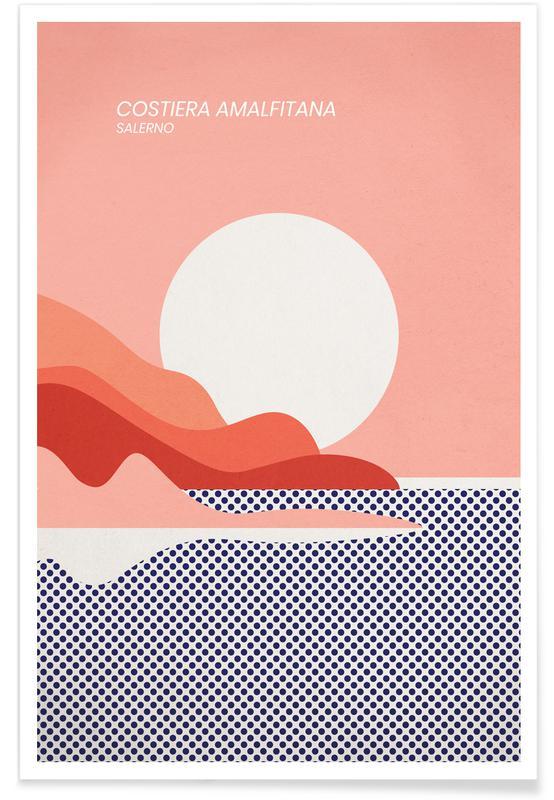 Océans, mers & lacs, Paysages abstraits, Voyages, Amalfi Coast affiche