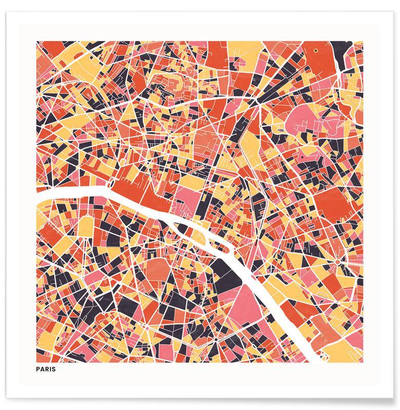 Cartes de villes, Paris II affiche