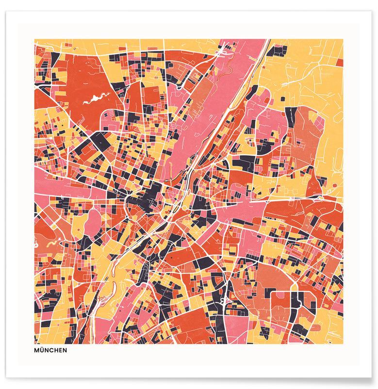 Cartes de villes, Munich II affiche