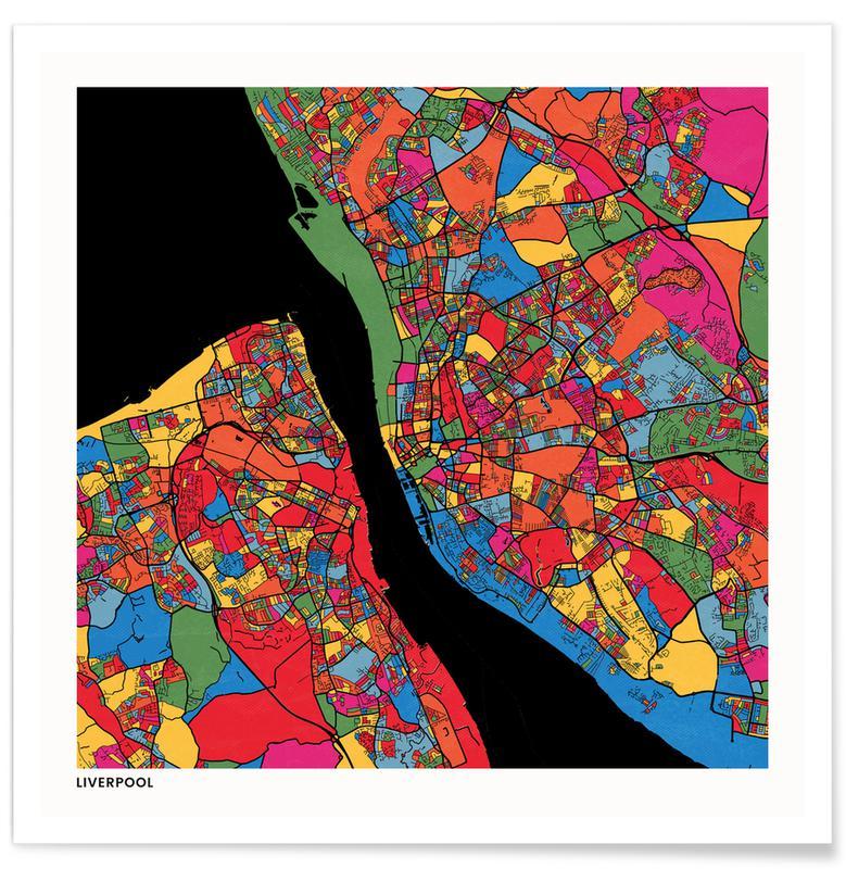 Cartes de villes, Liverpool affiche