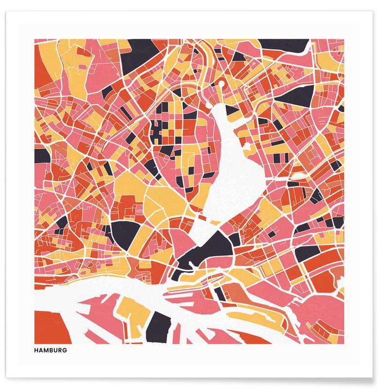 Cartes de villes, Hamburg II affiche