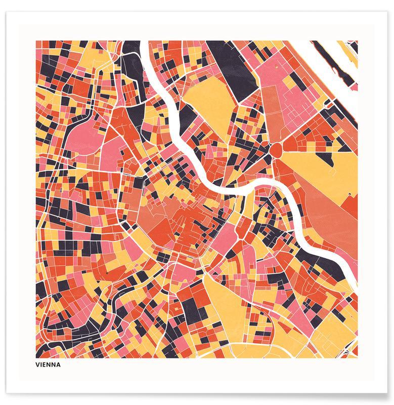 Cartes de villes, Vienna II affiche