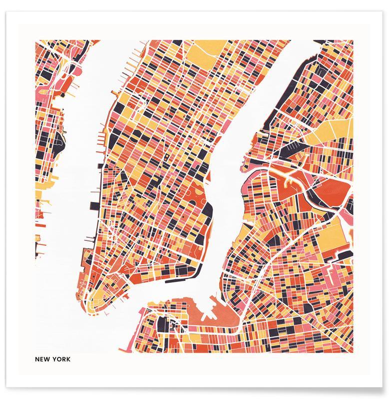 Cartes de villes, New York II affiche