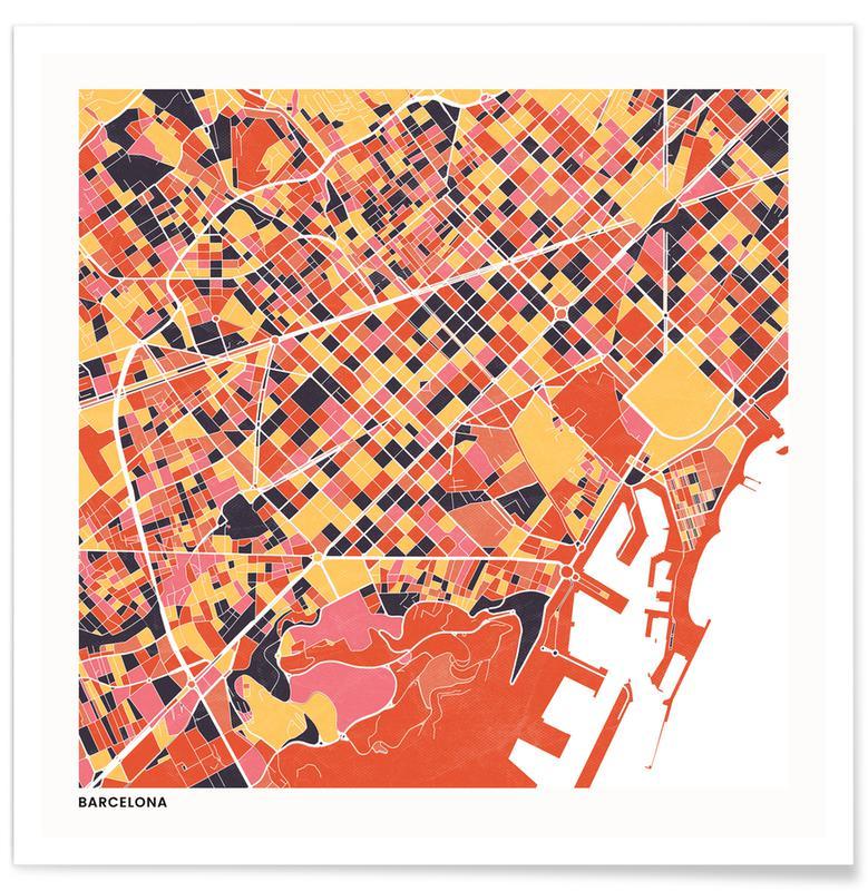 Cartes de villes, Barcelona II affiche